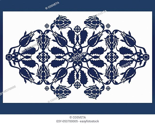 Laser cut floral arabesque ornament pattern vector. Template cutting wedding invitation, greeting card. Silhouette pattern printing, engraving