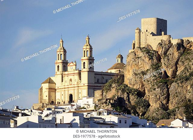 church of our lady of the incarnation and a moorish castle, olvera cadiz andalusia spain