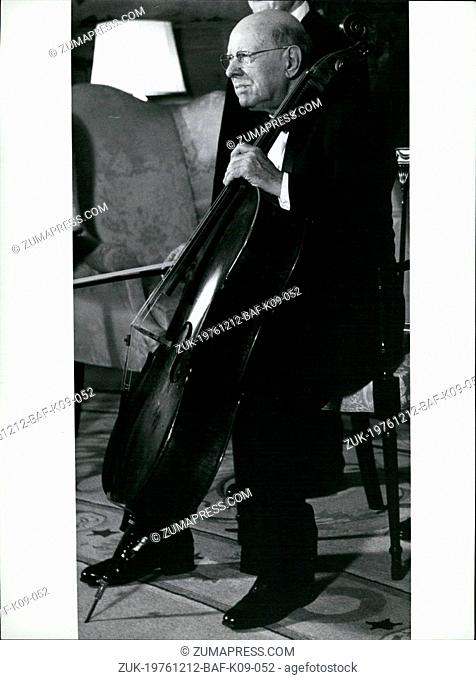 Dec. 12, 1976 - 100th Birthday of Cellist Pablo Casals: Hundred years ago, on December 29th 1976, world famous cello player Pablo Casals (picture) was born in...