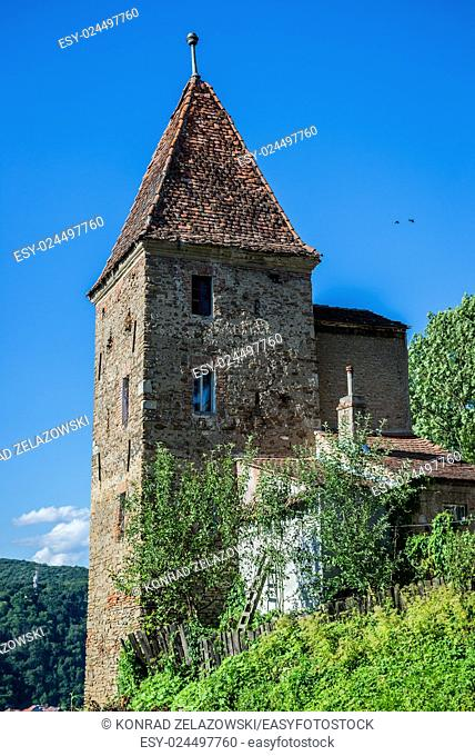 old Ropemakers Tower in Sighisoara town in Romania