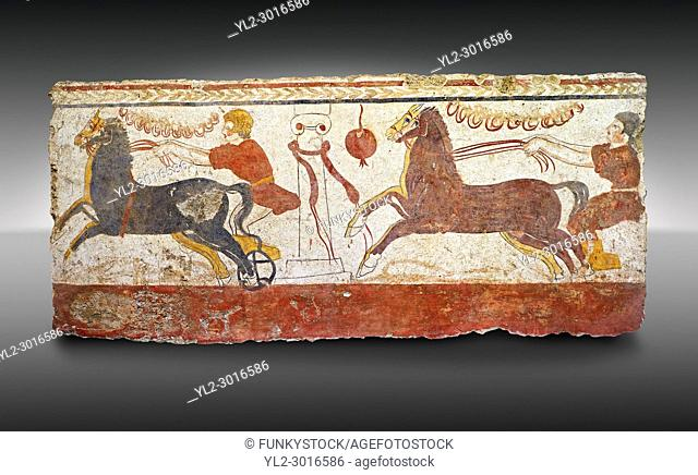 Lucanian fresco tomb painting of a . Paestrum, Andriuolo. Tomb n. 53 350-330 BC