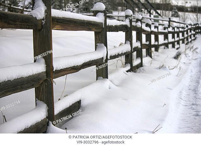 Snowed Fence in Durango, Colorado, USA