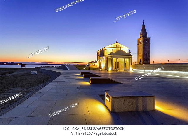 Europe, Italy, Veneto. The Church of the Blessed Virgin of the Angel on the Caorle seafront