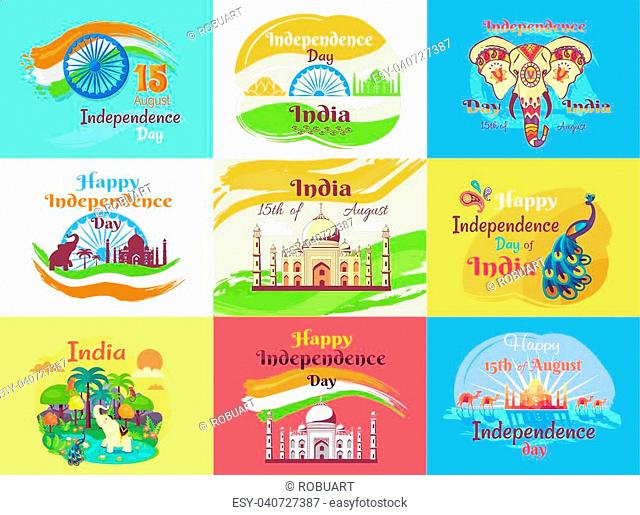 Indian Independence day emblems with Taj Mahal, elephant in patterns, national flag, local nature and bright peacock vector illustrations