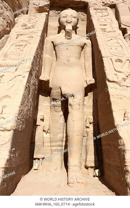 A photograph taken of the temple of Hathor and Nefertari, also known as the Small Temple. The temple was built about one hundred meters northeast of the temple...