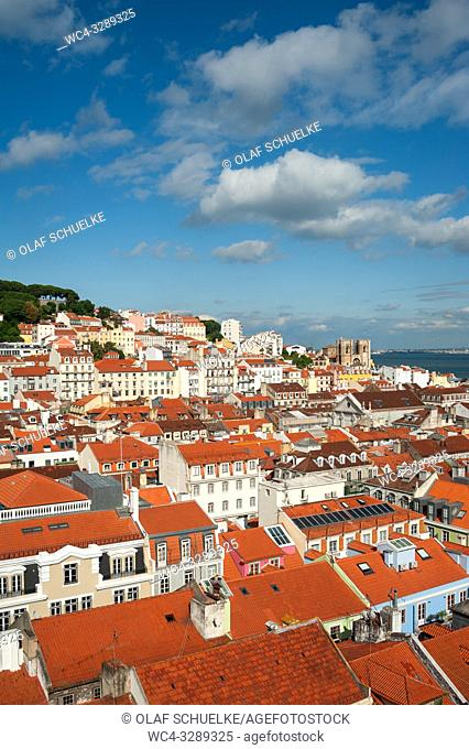 Lisbon, Portugal, Europe - An elevated view of buildings in the historic city district Baixa
