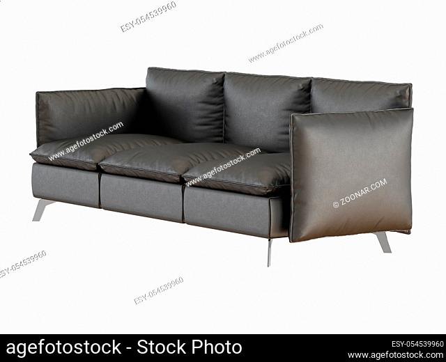 Soft black leather sofa made from pillows on a white background
