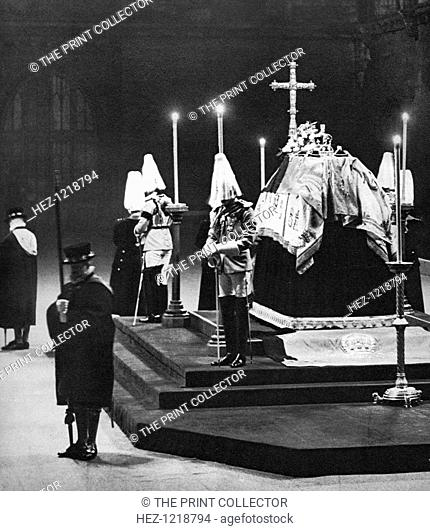 King George V lying in state in Westminster Hall, London, January 1936. The King's four sons, the future King Edward VIII