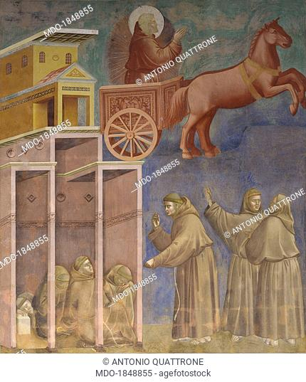 Apparition of St. Francis in a chariot of fire, by Giotto, 1297 - 1299, 13th Century, fresco, 230 x 270 cm. Italy, Umbria, Assisi