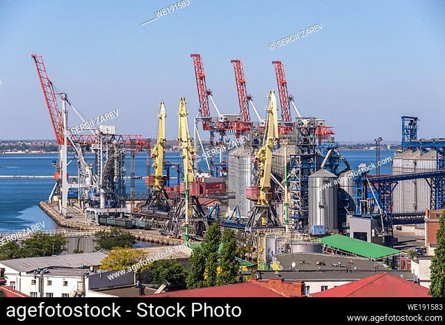 Odessa, Ukraine 09. 16. 2019. Harbor cranes in the cargo port and container terminal in Odessa, Ukraine, on a sunny day