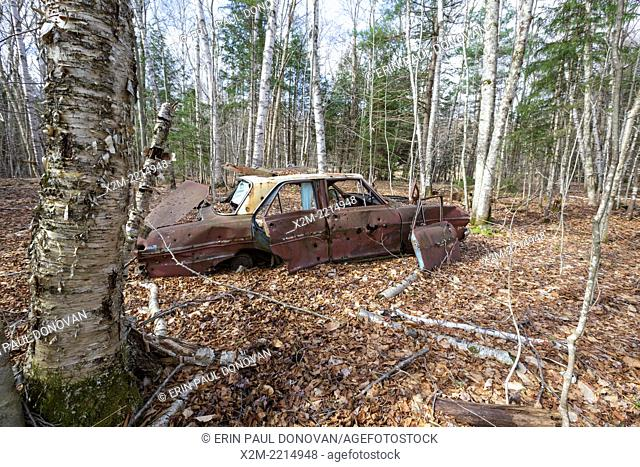 Abandoned Chevrolet car at the site of the old North Woodstock Civilian Conservation Corps Camp in North Woodstock, New Hampshire USA