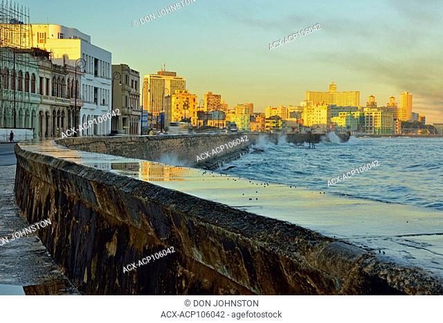 Street photogrphy in central Havana- Malecón (officially Avenida de Maceo) Seawall in the morning