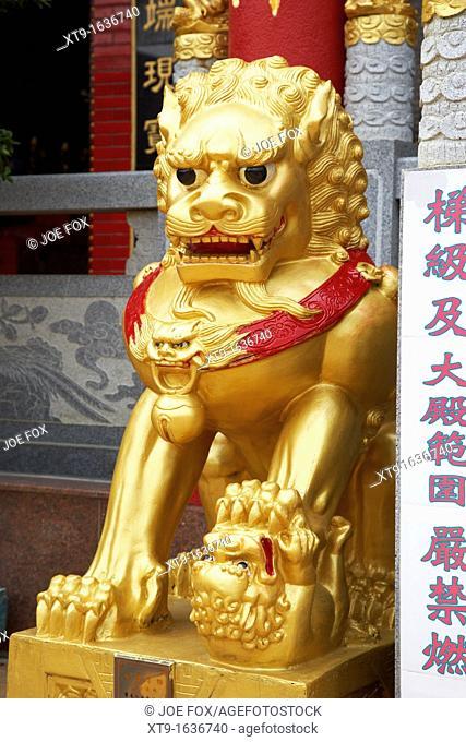 golden stone shishi lion foo dog at entrance to monastery of ten thousand buddhas sha tin new territories hong kong hksar china asia