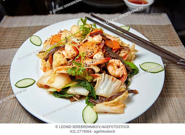 Sauteed Noodles with Shrimp and Vegetables. Hoi An, Quang Nam Province, Vietnam