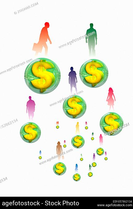 Silhouettes of several people standing on a ball embedded in dollars 3D