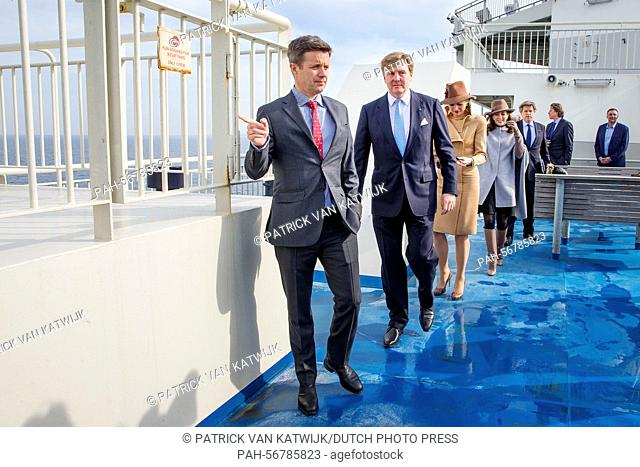 King Willem-Alexander and Queen Maxima of The Netherlands and Crown Prince Frederik (front) and Crown Princess Mary (back) of Denmark visit Samso Island