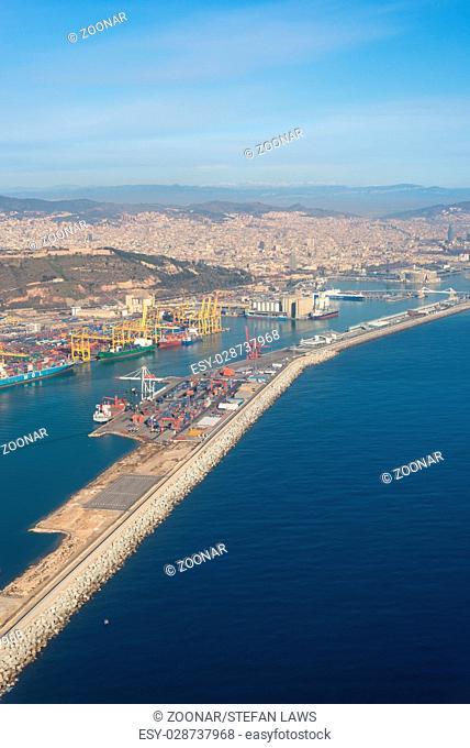 Top view above Zona Franca - Port, the industrial harbor of Barcelona