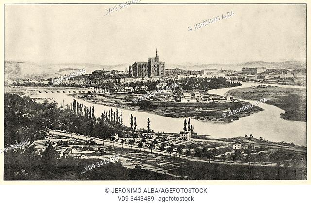 The Province during the War of 1870-71. General view of Metz during the blockade 1870. History of France, old engraved illustration image from the book Histoire...