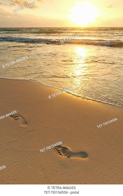 Footprints on beach at sunset
