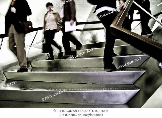 Metal stairs at Caixa Forum Art Museum, Madrid, Spain