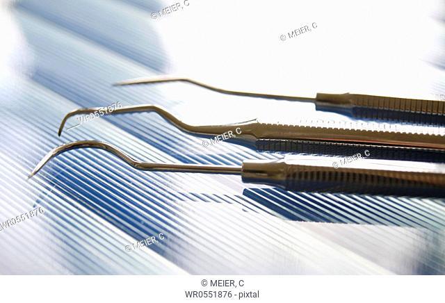 Dental set of instruments : Three dental explorer - Tooth probe