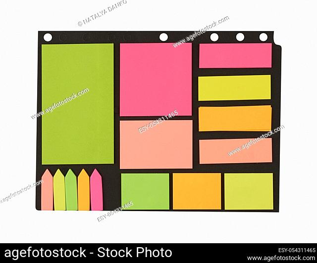 various blank paper multicolored stickers on a white background, close up