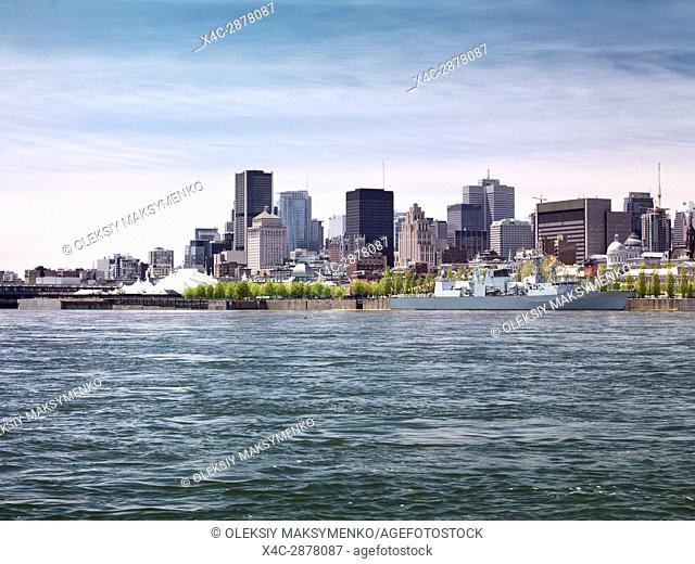 City of Montreal downtown waterfront skyline daytime scenery, Quebec, Canada. Ville de Montréal, Québec, Canada 2017