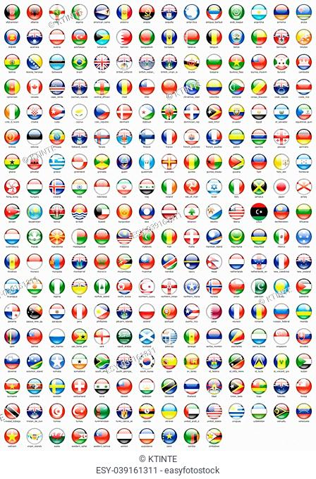 flags of various countries' round icon