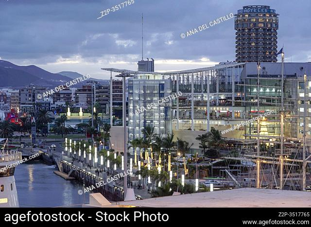 Puerto Las Palmas, Grand Canaria commercial harbor, Canary Islands, Spain - December 14, 2019: View from a cruise ship in the port terminal