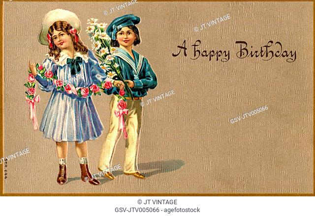 Girl and Boy with Flowers, A Happy Birthday, Postcard, circa 1910