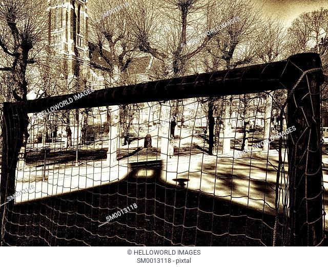 Football goal netting in church grounds, Stockholm, Sweden, Scandinavia