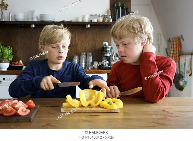 Boy assisting brother to chop bell pepper at table in kitchen