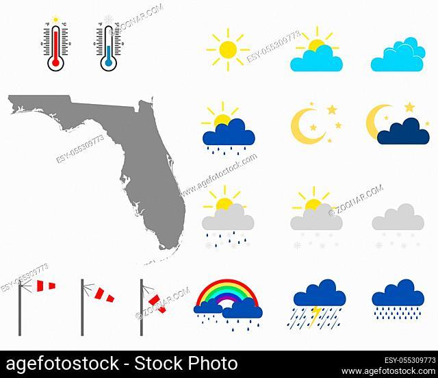 Karte von Florida mit Wettersymbolen - Map of Florida with weather symbols
