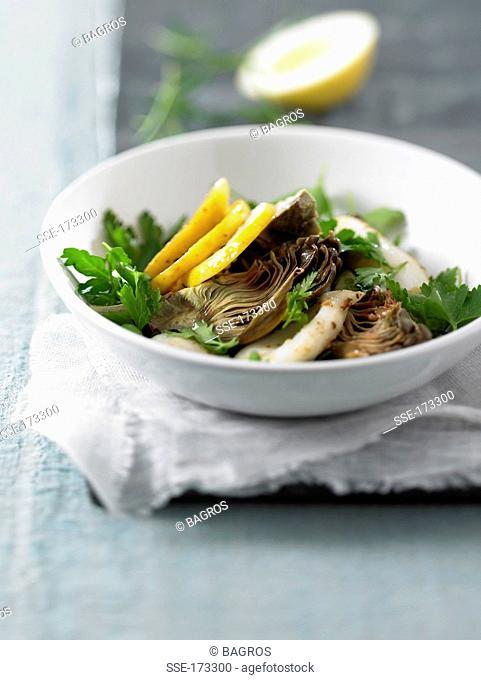 Artichoke, lemon and fried squid salad