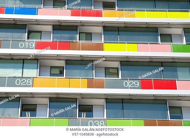 Detail of the facade, INE building, Paseo de la Castellana. Madrid, Spain