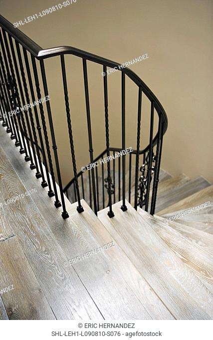 Wrought iron railing along top of staircase