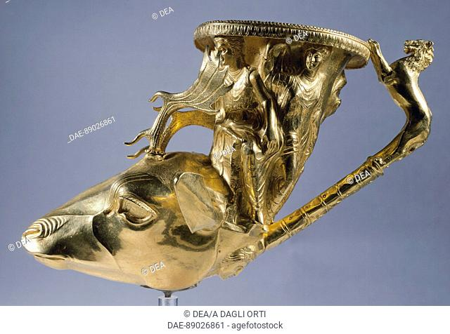 Gold rhyton in the shape of a stag's head with a handle in the shape of a lion, from the Treasures of Panagjuriste, Plovdiv Region, Bulgaria
