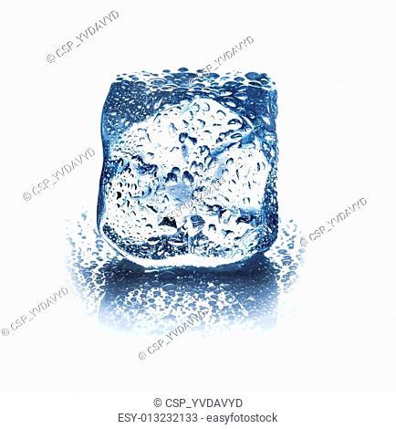 ice cube isolated on white background closeup