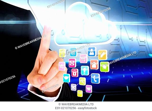 Finger pointing to cloud with app icons