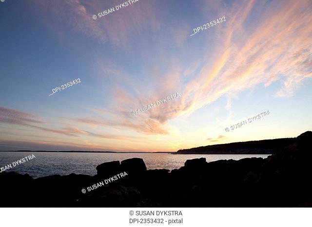 Sunset over the Atlantic Ocean, Acadia National Park; Maine, United States of America