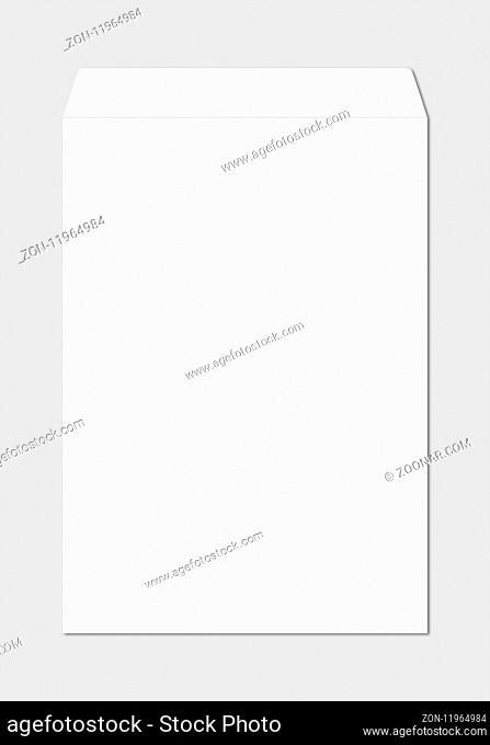 Large A4 white enveloppe mockup template isolated on grey background