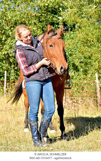 Young Woman and American Quarter Horse, bay, western horse, gelding