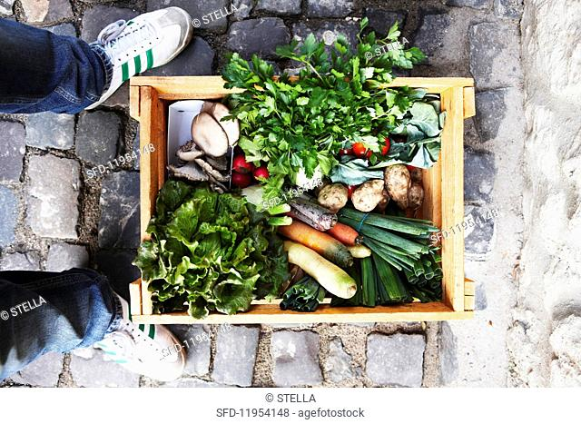 A person standing next to a crate of vegetables on cobble stones