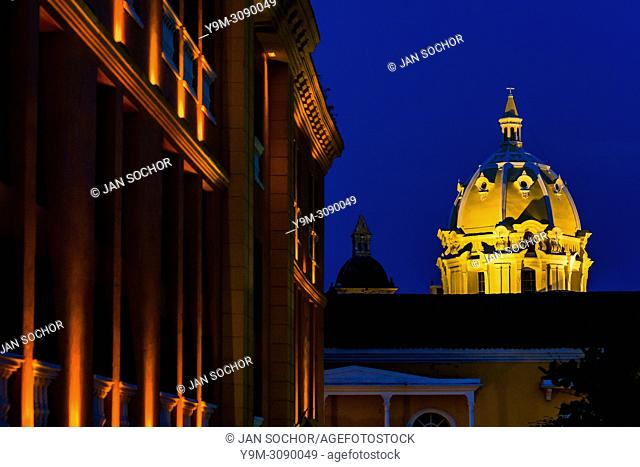 The cupola of Iglesia de San Pedro Claver (the San Pedro Claver Church) is seen enlightened during the twilight in Cartagena, Colombia, 15 April 2018