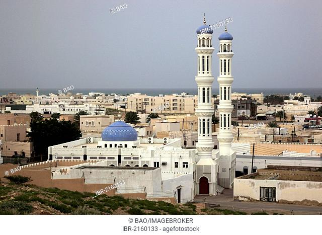 View over the mosque and the town of Sur, Oman, Arabian Peninsula, Middle East, Asia
