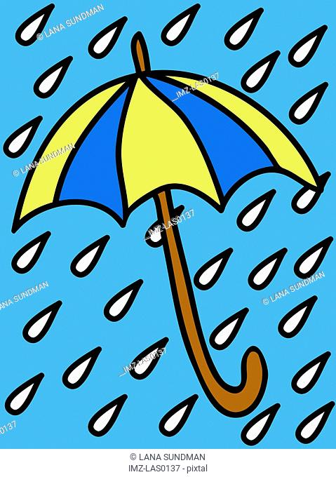 A blue and yellow umbrella in the rain