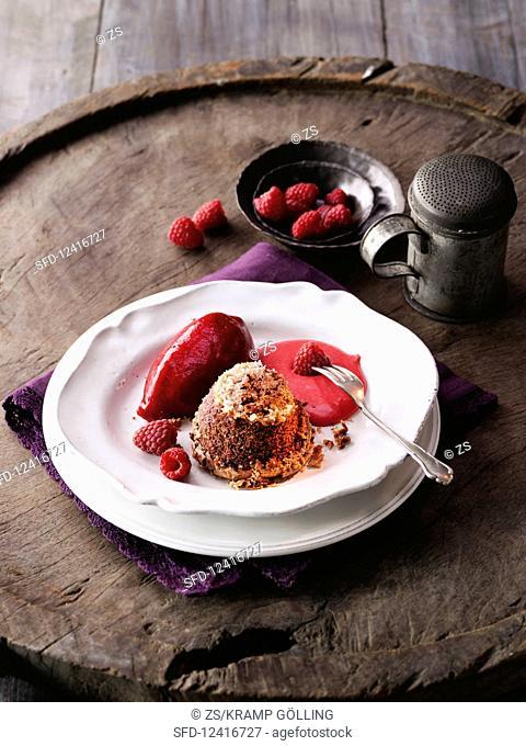 Chocolate cake with raspberry sorbet