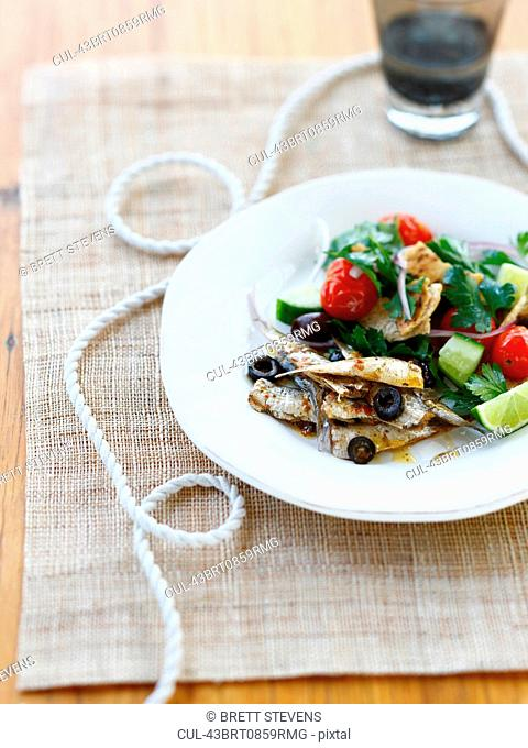 Plate of vegetables with fish
