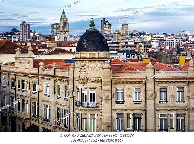 Building on Rua das Carmelitas street in Porto city on Iberian Peninsula, second largest city in Portugal