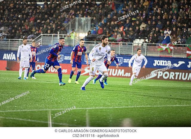 EIBAR, SPAIN - NOVEMBER 9, 2019: Sergio Ramos, Real Madrid player, scores the goal in a Spanish League match between Eibar and Real Madrid at Ipurua Stadium